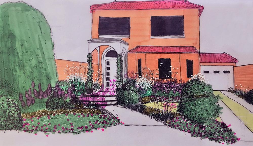 Croquis Diseño Jardin Monte Grande
